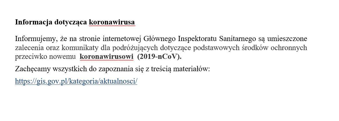 Ilustracja do informacji: Informacja o koronawirusie