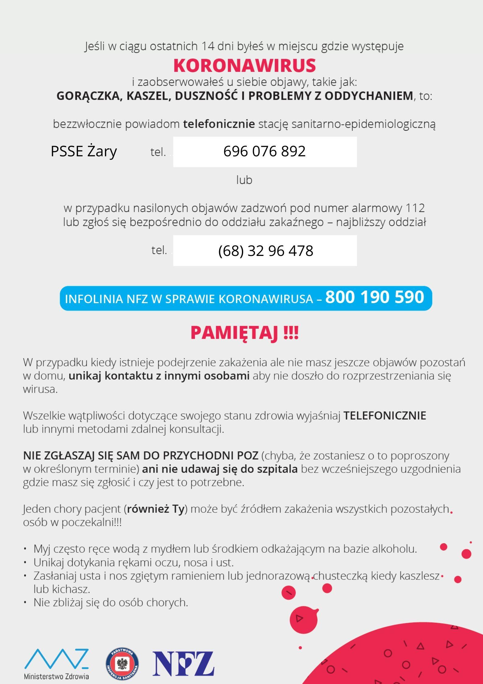 Ilustracja do informacji: Informacje o koronawirusie