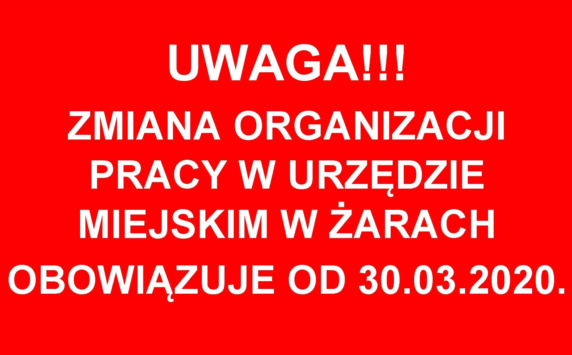Ilustracja do informacji: Informacja Urzędu Miejskiego w Żarach z dnia 27.03.2020 r.