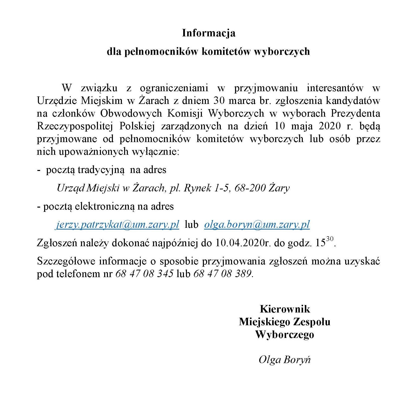 Ilustracja do informacji: Informacja dla pełnomocników komitetów wyborczych