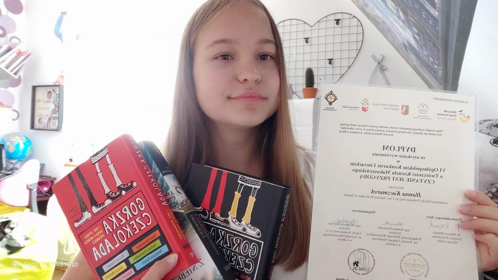 Ilustracja do informacji: Wyróżniona w Ogólnopolskim Konkursie Literackim