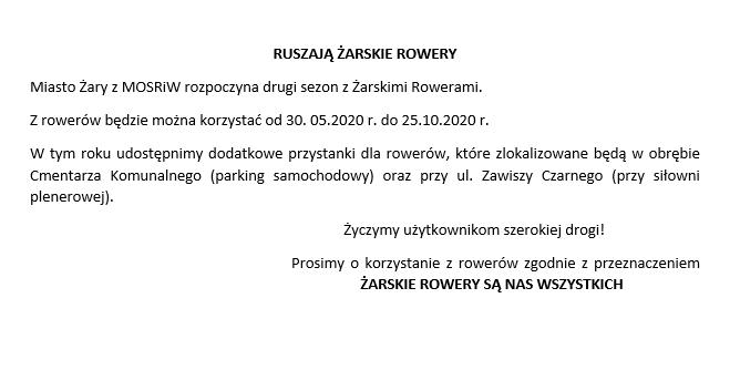 Ilustracja do informacji: RUSZAJĄ ŻARSKIE ROWERY