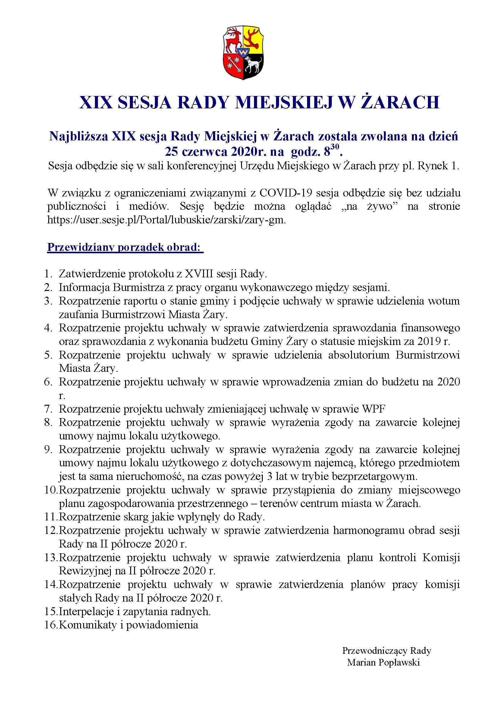 Ilustracja do informacji: XIX SESJA RADY MIEJSKIEJ W ŻARACH