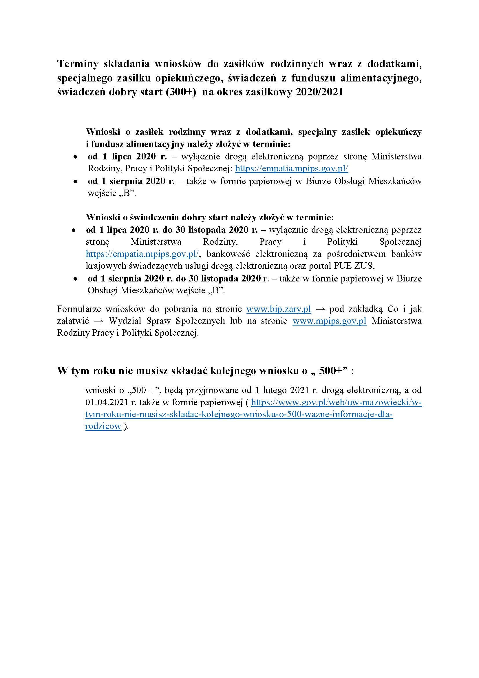 Ilustracja do informacji: Terminy składania wniosków