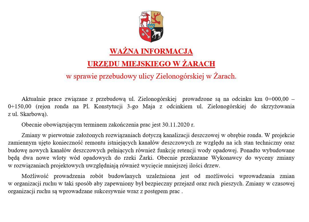 Ilustracja do informacji: Przebudowa ul. Zielonogórskiej