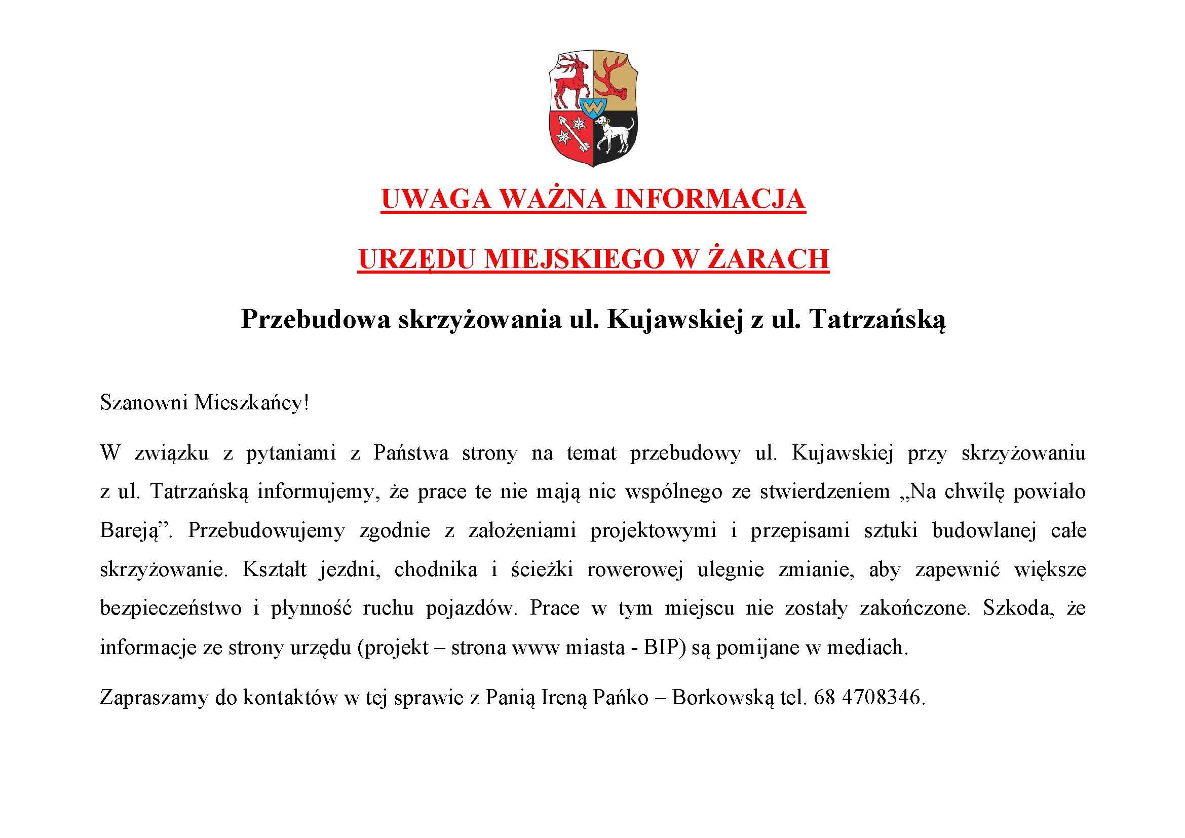 Ilustracja do informacji: Kujawska, Tatrzańska - stanowisko UM