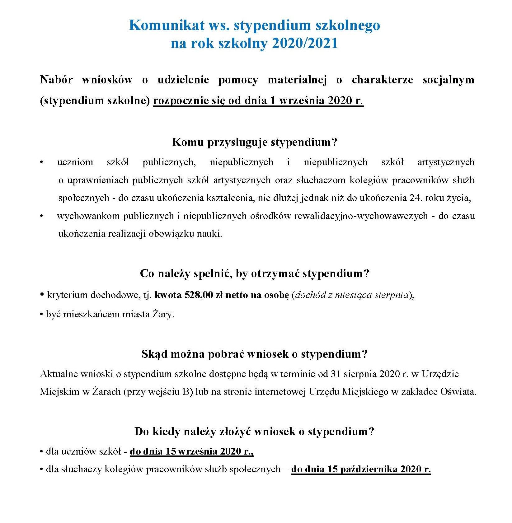 Ilustracja do informacji: Komunikat ws. stypendium szkolnego na rok szkolny 2020/2021