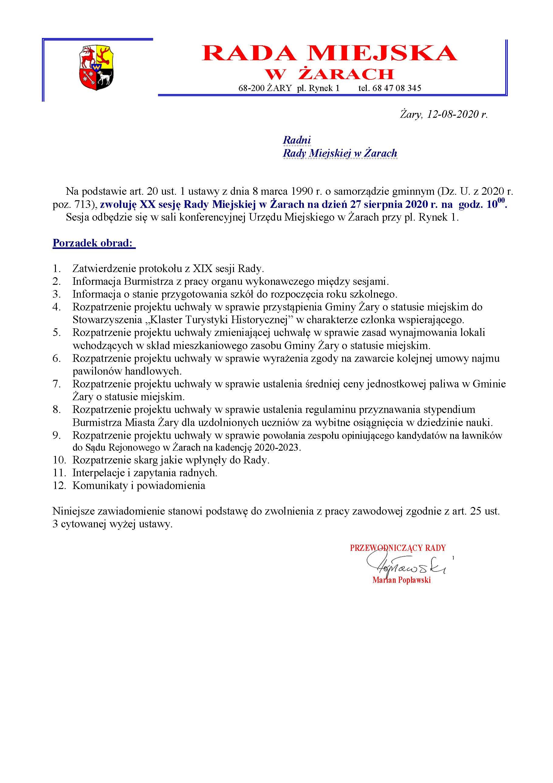 Ilustracja do informacji: Informacja dot. sesji na stronę miejską.