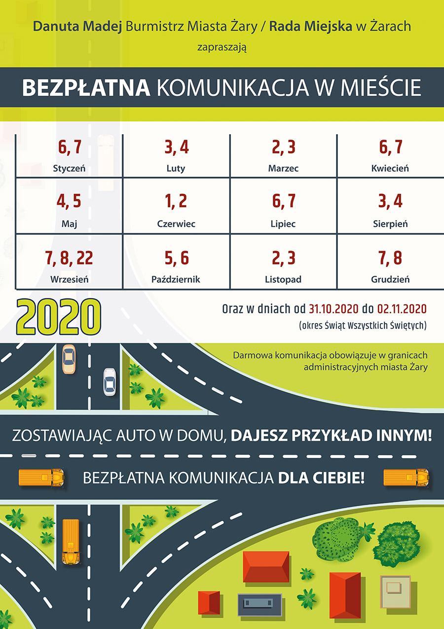 Ilustracja do informacji: Bezpłatna Komunikacja Miejska 2020