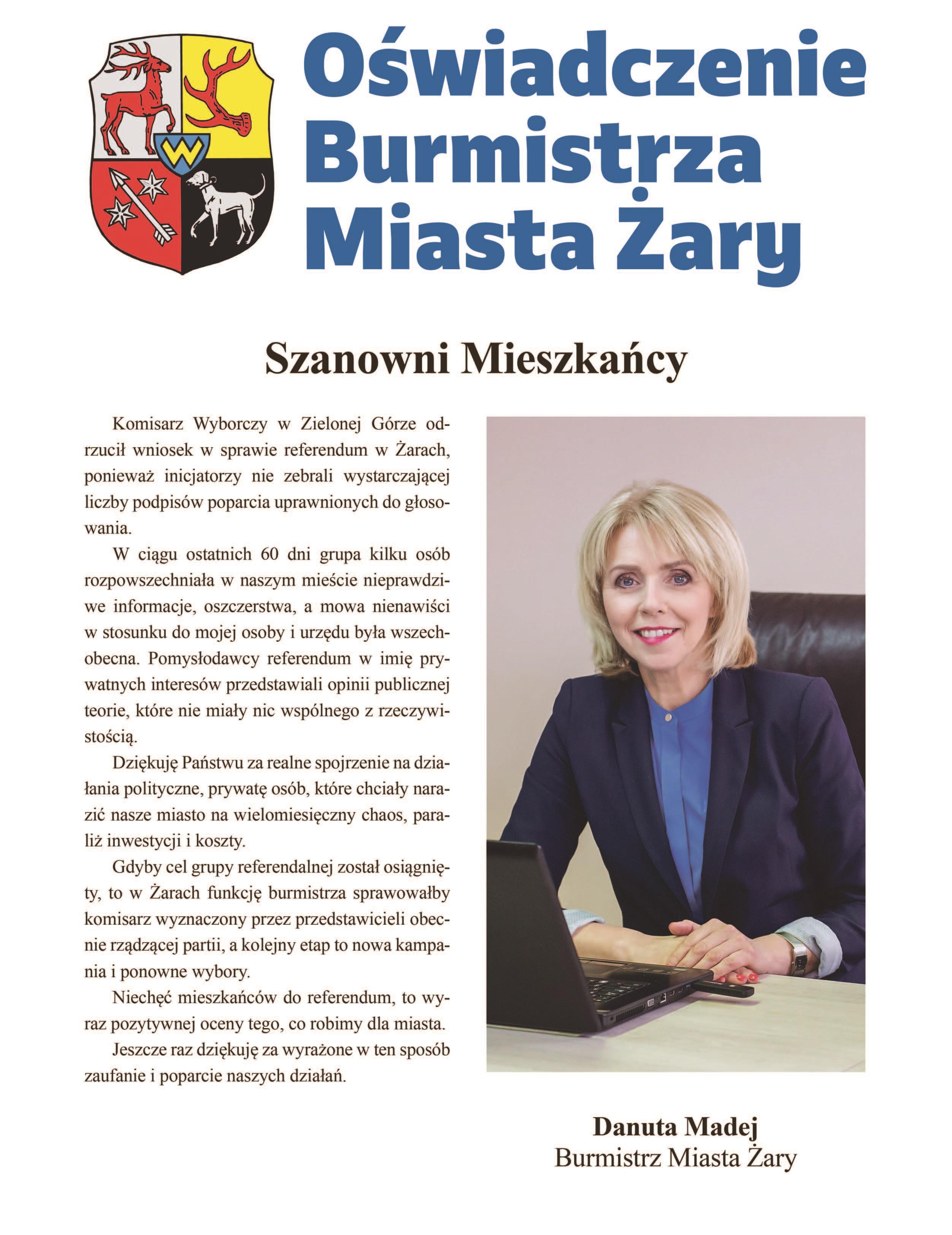 Ilustracja do informacji: Oświadczenie Burmistrza Miasta Żary