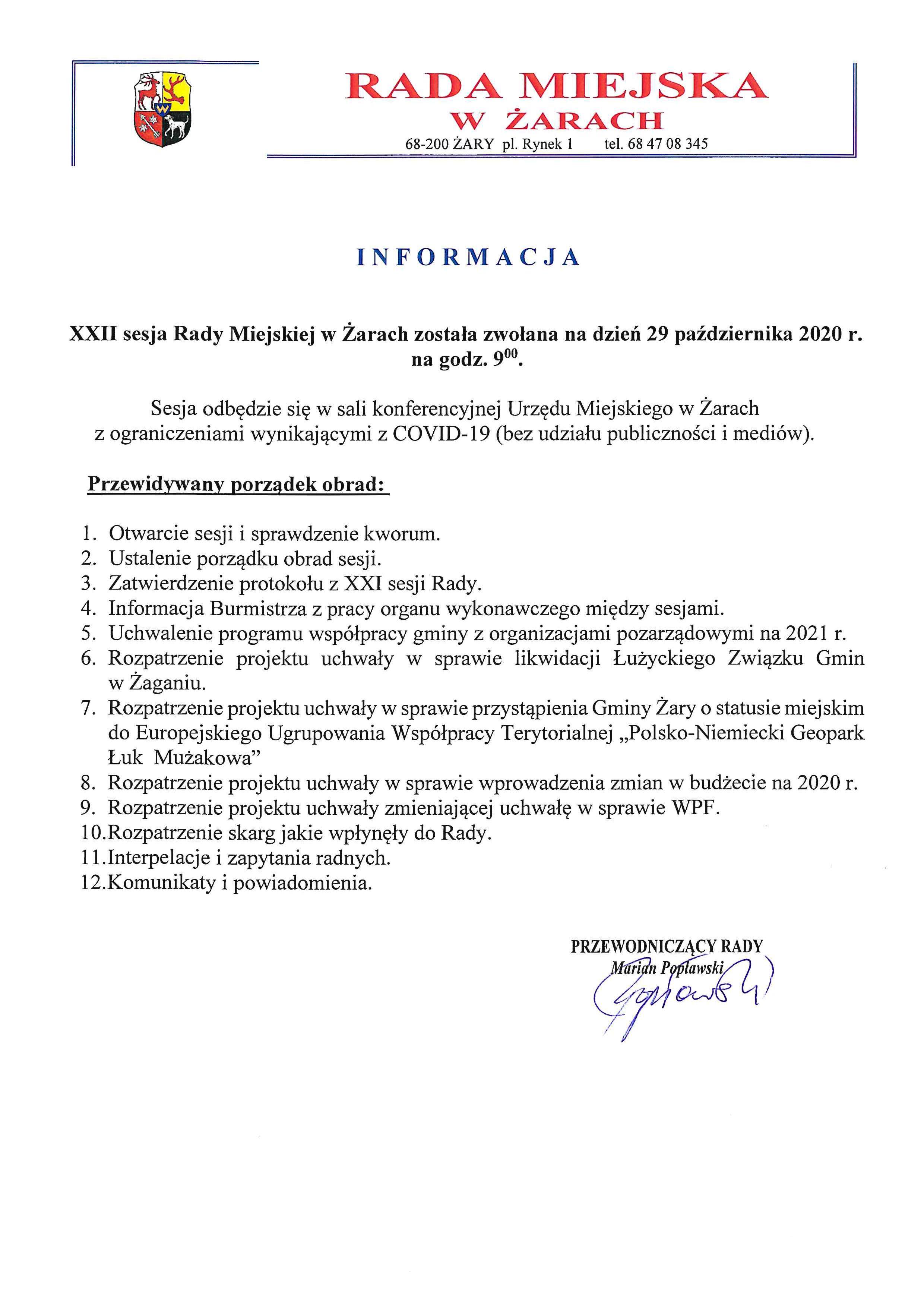 Ilustracja do informacji: XXII sesja Rady Miejskiej w Żarach