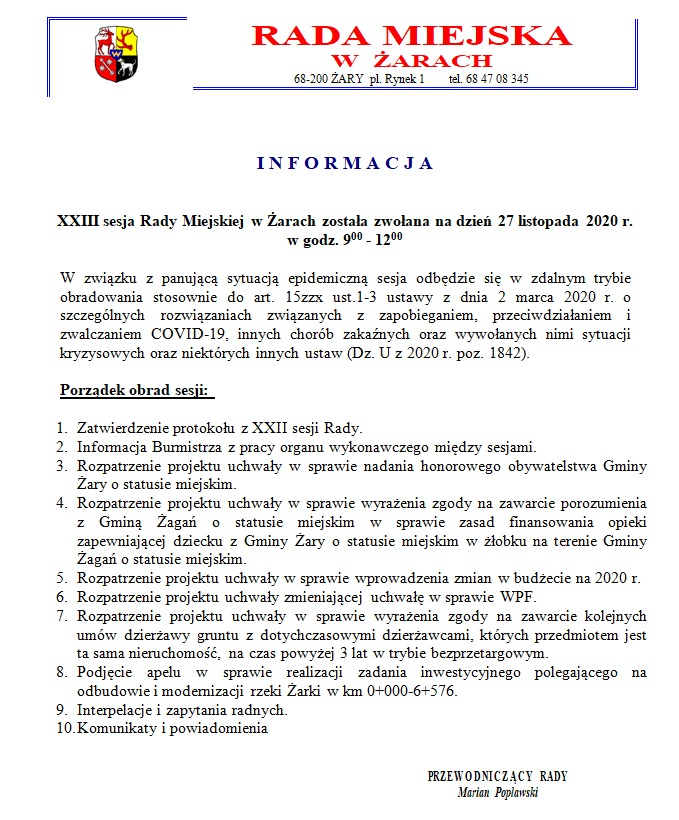 Ilustracja do informacji:  Informacja o XXIII sesji Rady