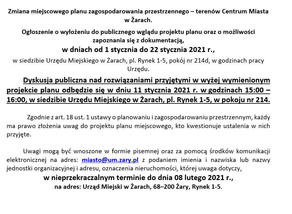 Ilustracja do informacji: Zmiana miejscowego planu zagospodarowania przestrzennego – terenów Centrum Miasta w Żarach