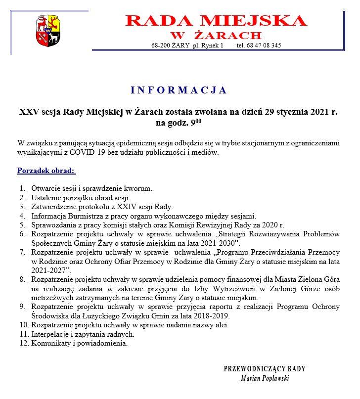 Ilustracja do informacji: XXV sesja Rady Miejskiej w Żarach