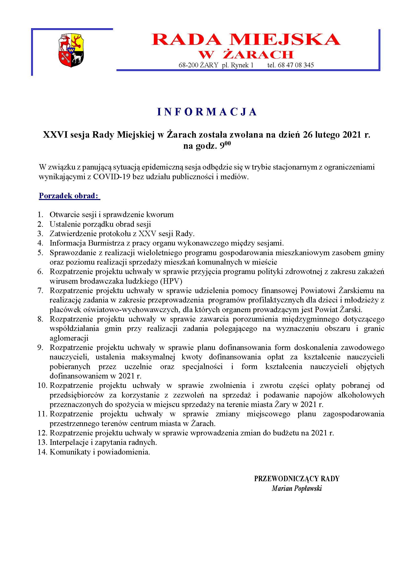 Ilustracja do informacji: XXVI sesja Rady Miejskiej w Żarach