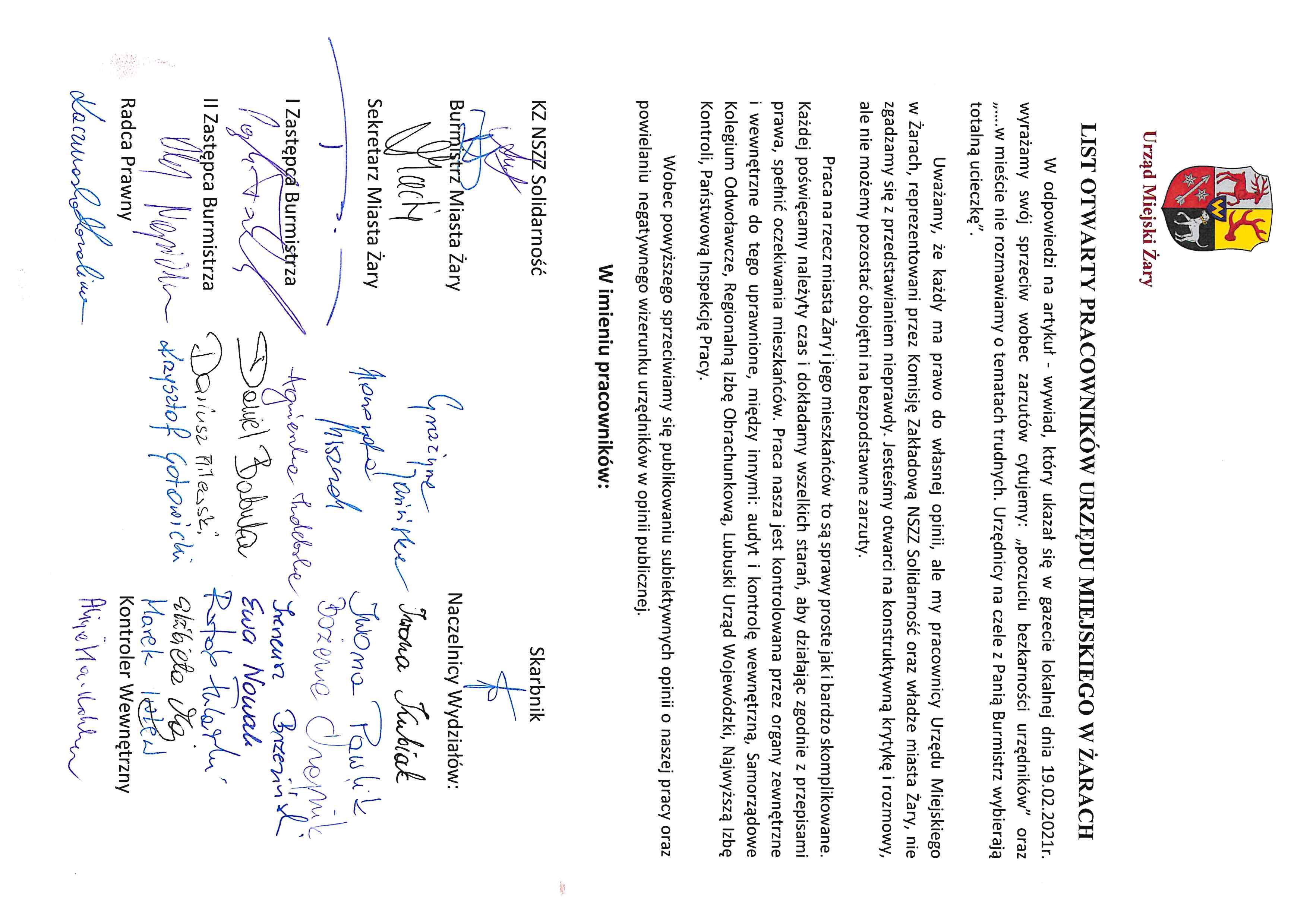 Ilustracja do informacji: List otwarty pracowników Urzędu Miejskiego w Żarach