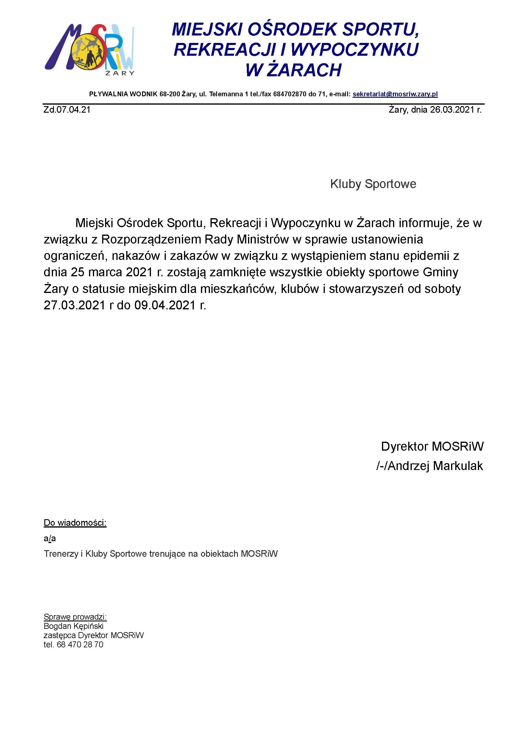 Ilustracja do informacji: Zamknięcie obiektów sportowych