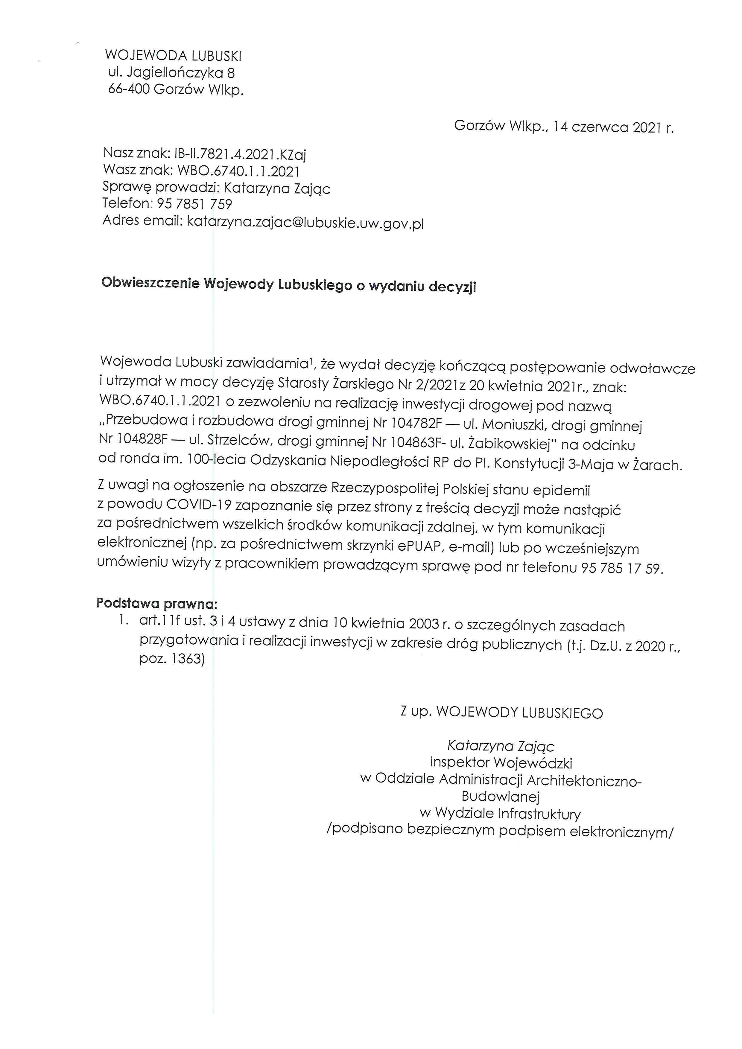 Ilustracja do informacji: Obwieszczenie Wojewody Lubuskiego