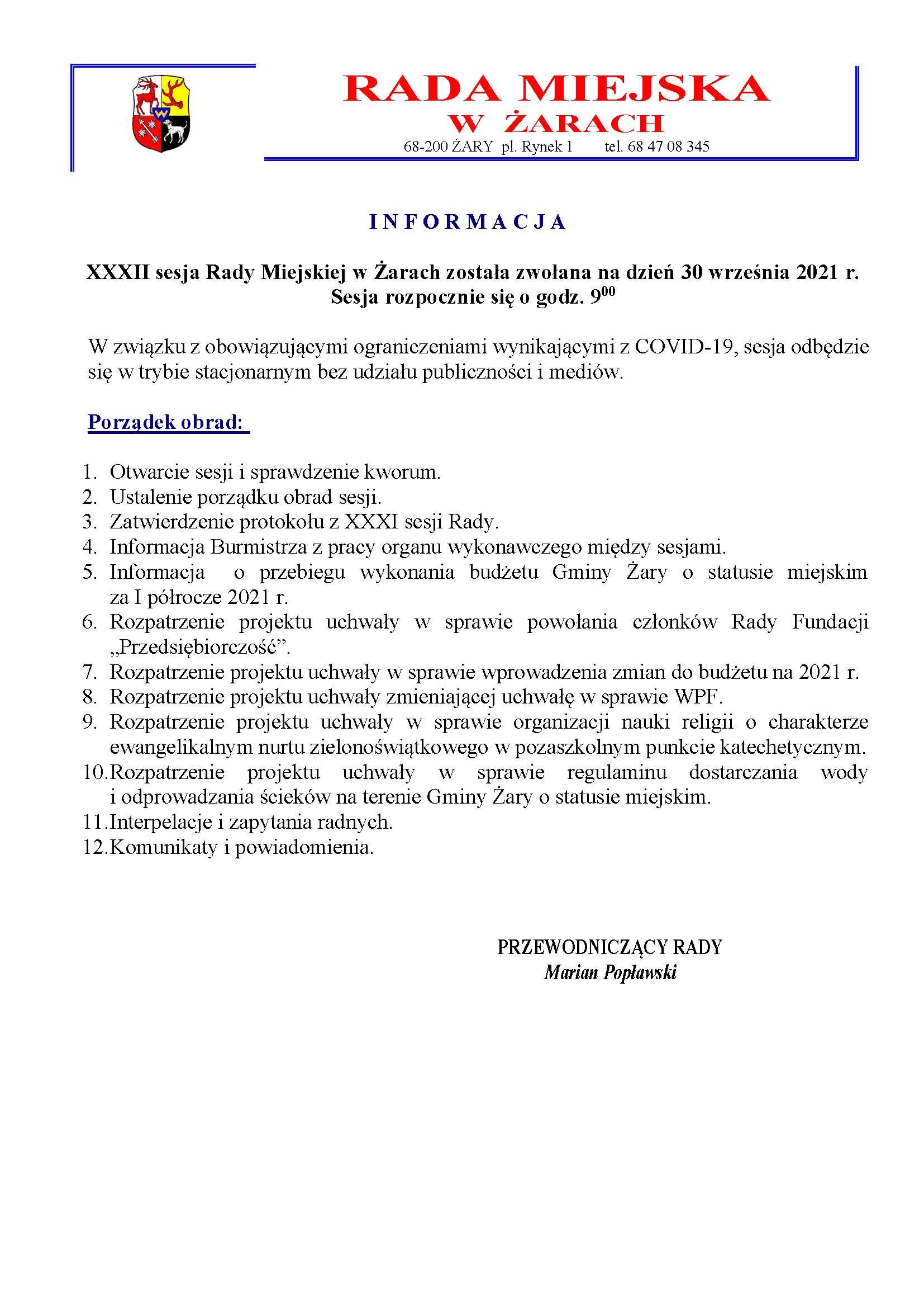 Ilustracja do informacji: XXXII sesja Rady Miejskiej w Żarach