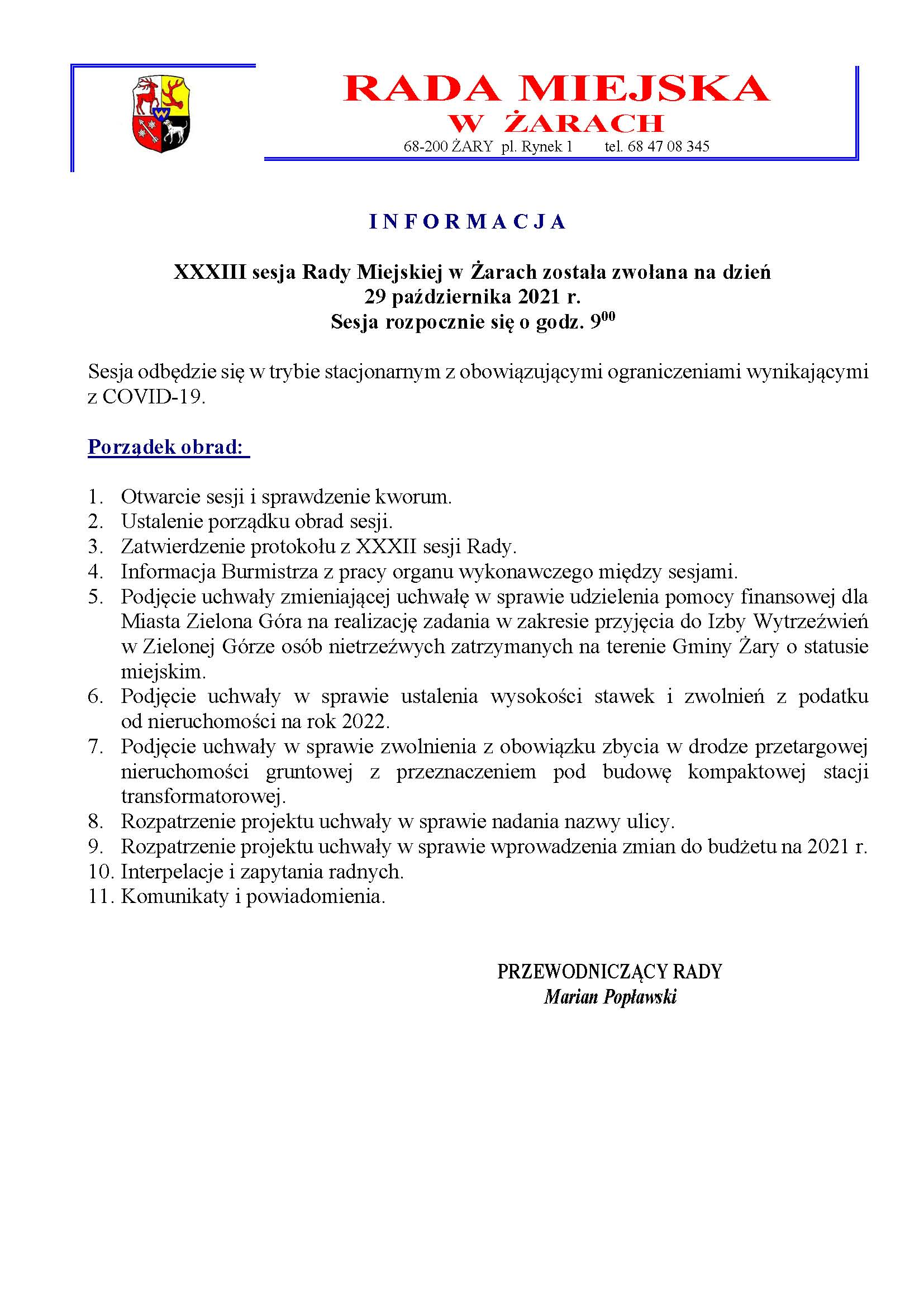 Ilustracja do informacji: Informacja o XXXIII sesji Rady
